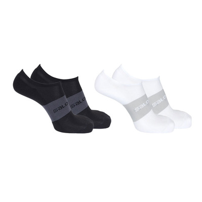 SALOMON - SONIC - Chaussettes x2 black/white