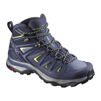 SALOMON - X ULTRA 3 MID GTX - Hiking Shoes - Women's - crown blue/evening b/snny lime