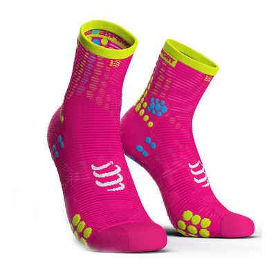 COMPRESSPORT - PRORACING V3 RUN - Chaussettes fluo pink