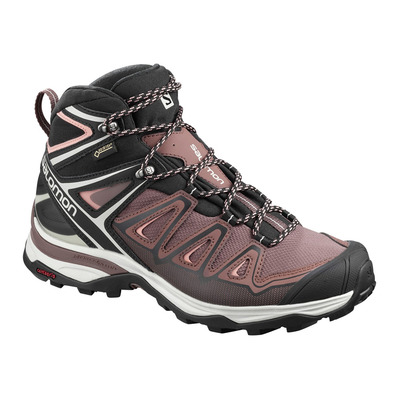 SALOMON - X ULTRA 3 MID GTX - Zapatillas de senderismo mujer peppercorn/black/coral almond