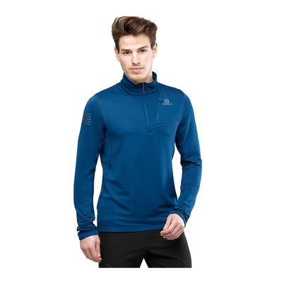 SALOMON - GRID FZ - Sweat Homme poseidon