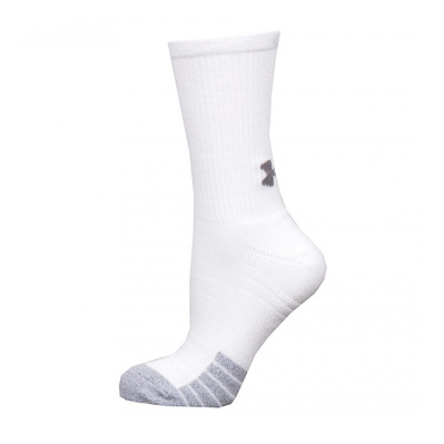 UNDER ARMOUR - HEATGEAR CREW - Calcetines x3 white/white/steel