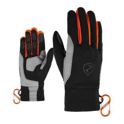 ZIENER - GUSTY TOUCH - Gants black/new orange