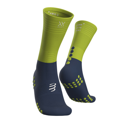 COMPRESSPORT - Mid Compression Socks Unisexe BLUE/LIME