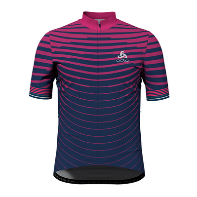 ODLO - Stand-up collar s/s full zip ZEROWEIGHT hombre beetroot purple - estate blue