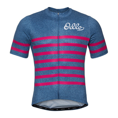 ODLO - Stand-up collar s/s full zip ELEMENT hombre estate blue melange - beetroot purple