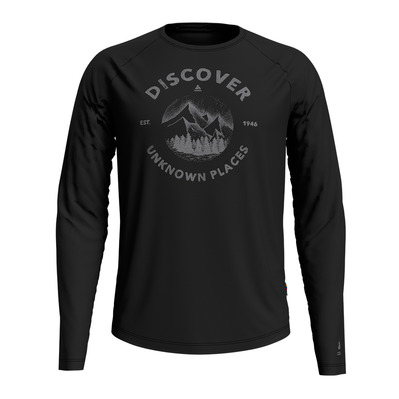 ODLO - T-shirt l/s crew neck CONCORD Homme black - discover print SS20