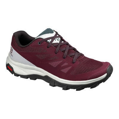 SALOMON - OUTLINE - Hiking Shoes - Women's - winetastin/quarry/green