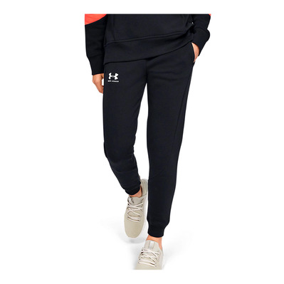UNDER ARMOUR - UA RIVAL FLEECE FASHION - Pantalón de chándal mujer black/black/onyx white