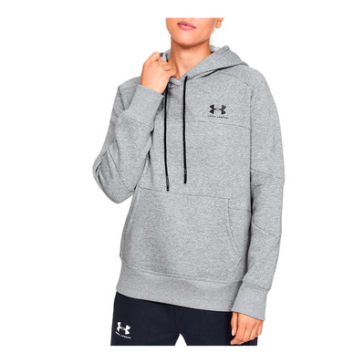 UNDER ARMOUR - Rival Fleece Color block Hoodie-GRY Femme Steel Medium Heather/Black