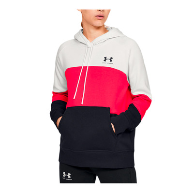 UNDER ARMOUR - Rival Fleece Color block Hoodie-WHT Femme Onyx White/Beta/Black