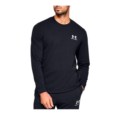 UNDER ARMOUR - SPORTSTYLE TERRY LOGO CREW-BLK Homme Black/White