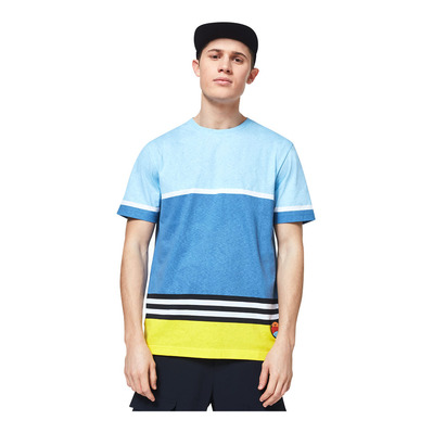 OAKLEY - STRIPED 1975 SS - Tee-shirt Homme blue yellow color block