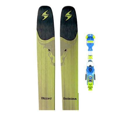 BODACIOUS 17 - Skis freeride Homme green/black + Fixations AMBITION 12 B125 solid blue/yellow