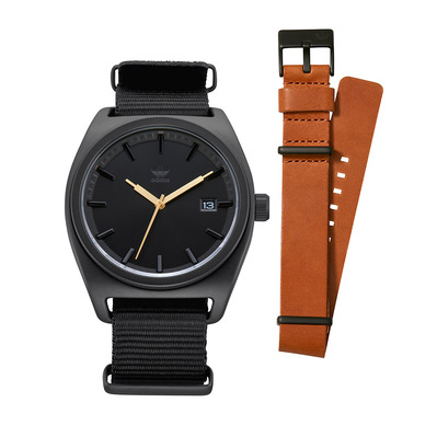 PROCESS PK2 - Montre quartz Homme + bracelet all black/gold/tan