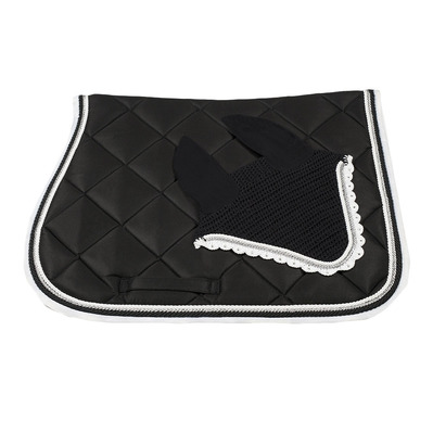 Wagner SADDLEPAD SET - Tapis mixte + bonnet black/silver/white