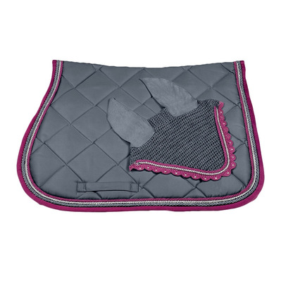 Wagner SADDLEPAD SET - Tapis mixte + bonnet grey/silver/magenta