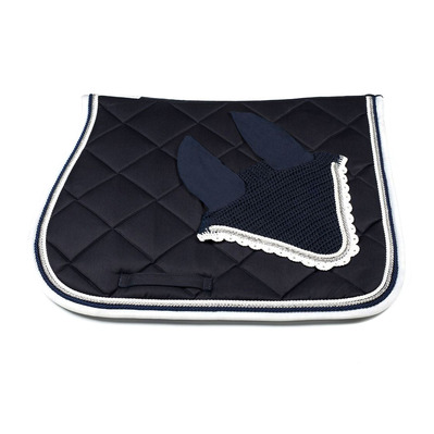 Wagner SADDLEPAD SET - Tapis de dressage + bonnet darkblue/silver/white