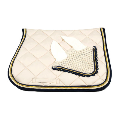 Wagner SADDLEPAD SET - Tapis de dressage + bonnet beige/gold/darkblue