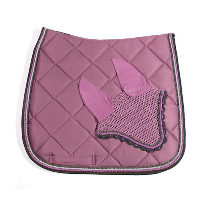 Wagner SADDLEPAD SET - Tapis de dressage + bonnet old rose/grey/silver