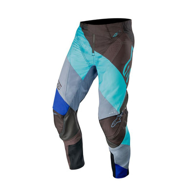 alpinestars - TECHSTAR VENOM - Pants - Men's - black/turquoise blue