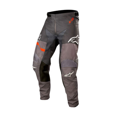 alpinestars - RACER FLAGSHIP - Pants - Men's - mid grey/anthracite/orange fluo