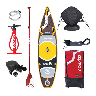 "COASTO - NAUTILUS 11'6"" - Inflatable SUP Board - brown/yellow + Kayak Seat + Pump + Accessories"