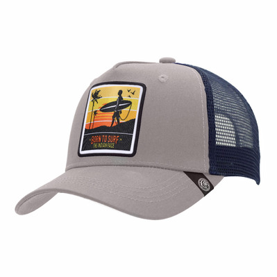 THE INDIAN FACE - BORN TO SURF - Gorra grey/blue