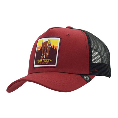 THE INDIAN FACE - BORN TO SKATE - Gorra red/black