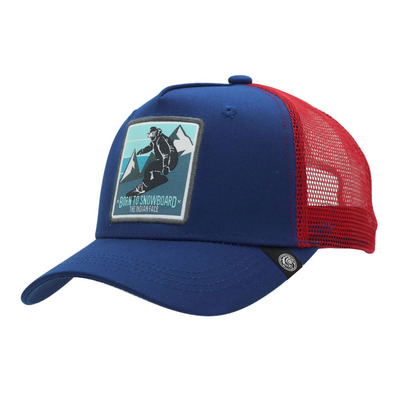 THE INDIAN FACE - BORN TO SNOWBOARD - Gorra blue/red