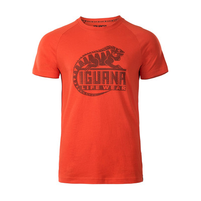 IGUANA - BAAKY II - T-Shirt - Men's - cherry tomato / anthracite logo