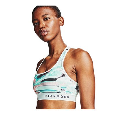 UNDER ARMOUR - ARMOUR MID CROSSBACK - Brassière Femme seaglass blue/black