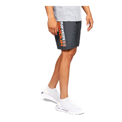 UNDER ARMOUR - UA Woven Wordmark Shorts-GRY Homme Pitch Gray/Orange Glitch