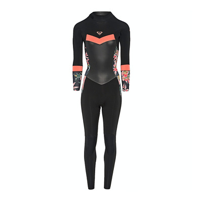 ROXY - SYNCRO BACKZIP GBS - Combinaison 4/3mm Femme black/bright coral