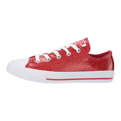 CONVERSE - CHUKC TAYLOR ALL STAR GLITTER COATED LOW TOP - Chaussures Junior cherry red/white grade B