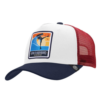 THE INDIAN FACE - BORN TO BODYBOARD - Gorra white/blue/red
