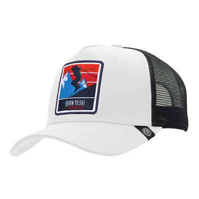 THE INDIAN FACE - BORN TO SKI - Gorra white/black