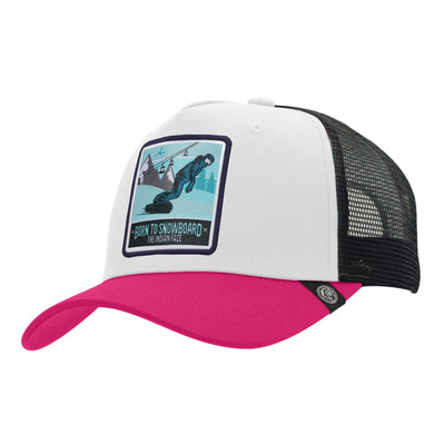 THE INDIAN FACE - BORN TO SNOWBOARD - Gorra white/pink/black