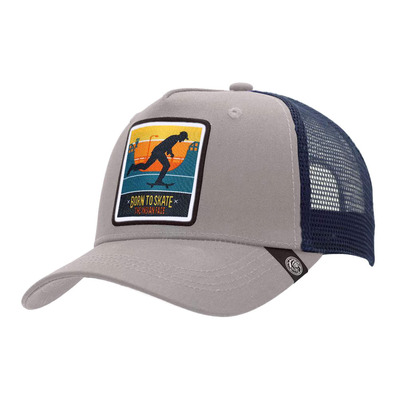 THE INDIAN FACE - BORN TO SKATE - Gorra grey/blue
