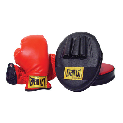 EVERLAST - FAMILY TRAINING - Gloves + Hook and Jab Pads - Junior - red