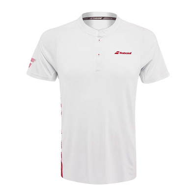 BABOLAT - PERFORMANCE - Polo Homme white/salsa