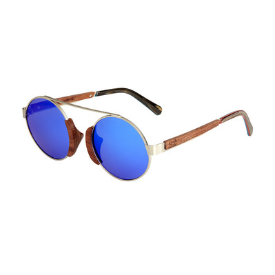 EARTH WOOD - ANAKENA - Wooden Polarised Sunglasses - silver/brown/blue