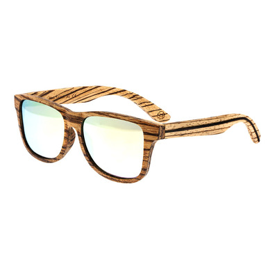 EARTH WOOD - SOLANA - Wooden Polarised Sunglasses - brown stripe/yellow