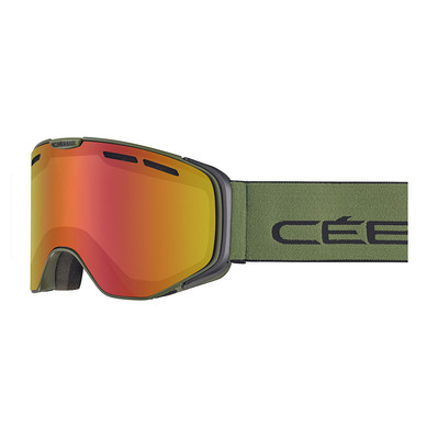 CEBE - VERSUS - Masque ski photochromique matt black/olive/vario perfo amber flash red