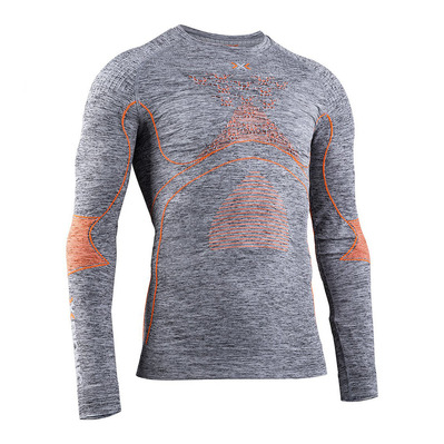 X-BIONIC - ENERGY ACCUM MEL RNECK LS M - Base Layer - Men's - grey marl/orange