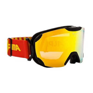 ALPINA - PHEOS S MM - Skibrille - black mat red/yellow