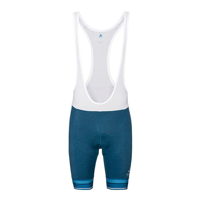 ODLO - Tights short suspenders ZEROWEIGHT Homme mykonos blue melange - white