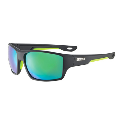 CEBE - STRICKLAND - Lunettes de soleil matte black/lime/zone grey green