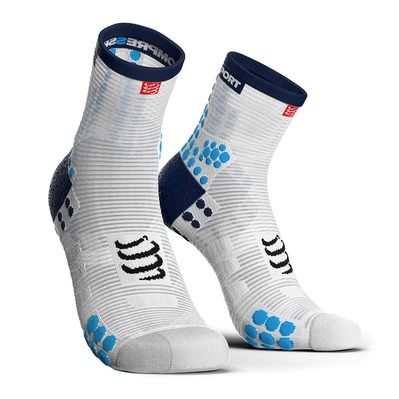 COMPRESSPORT - PRO RACING V3.0 RUN HIGH - Calze white/blue